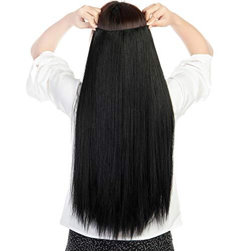 V-förmige Clip-In-Extensions, 3/4-Volle, dick, gelockt, gerade, synthetische Haarverlängerung, mit 4 Clips Gr. Gerade-66 cm, Dunkelschwarz-66 cm (26 Zoll)