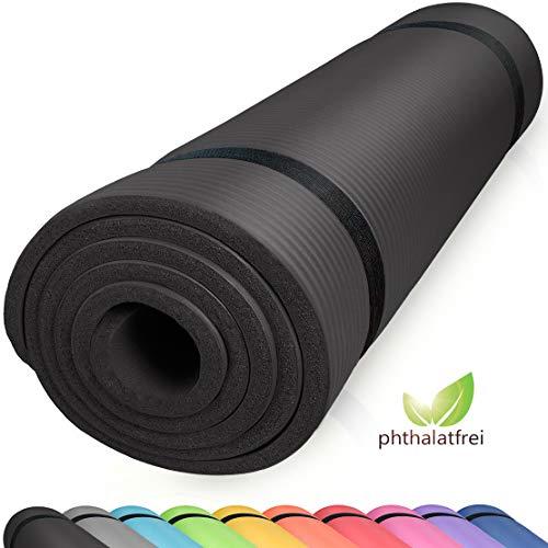 diMio Yogamatte Gymnastikmatte rutschfest mit Tragegurt, phthalatfrei + SGS-geprüft (Schwarz, 200 x 100 x 2 cm)