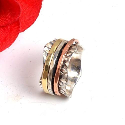 Meditationsringe, Spinnerringe, Silberringe für Frauen, Beautiful Designer Spinning Ring for Women, Anxiety Ring for Meditaion, 925 Sterling Silver Spinner Band Rings for Women