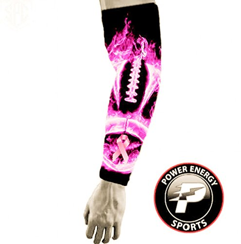Power Energy Sports Pink Ribbon Breast Cancer Awareness Baseball Football Compression Arm Sleeve - Pink Football Flames
