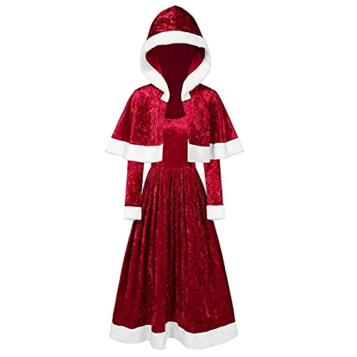 Christmas Halloween Costumes Cloak Long Sleeve Mrs Santa Xmas Velvet Hooded Cape Robe with Dress for Carnival Cosplay Red