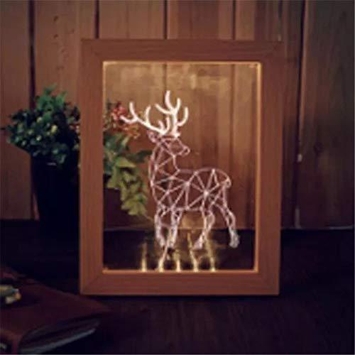 Preisvergleich Produktbild WUJIAN Bilderrahmen Holz Elk Desktop-Dekorative USB-Lampe for Schlafzimmer-Kunst-Dekor 3D-Bilderrahmen erhellende LED-Nachtlicht für Bilder Collagen (Color : Red,  Size : One Size)