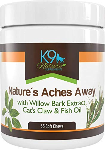 Arthritis Pain Relief Dog Hip and Joint Supplement Treats with Fish Oil Without Glucosamine Chondroitin MSM or Aspirin 55 Soft Chews of Nature's Aches Away for Dogs