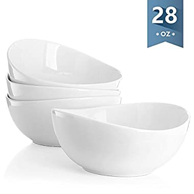 Sweese 1104 Porcelain Bowls - Set of 4-28 Ounce for Cereal, Salad and Desserts, White