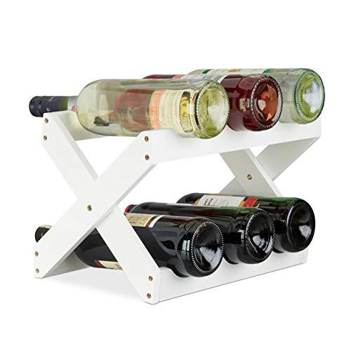 Relaxdays Étagère à Vin Bambou, Forme en X, 6 bouteilles, petit, Range-bouteilles pliant, HLP 22x36x20 cm, blanc