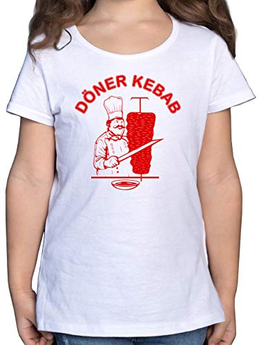 Karneval & Fasching Kinder - Original Döner Kebab Logo - 164 (14/15 Jahre) - Weiß - Doner Kebab t Shirt - F131K - Mädchen Kinder T-Shirt