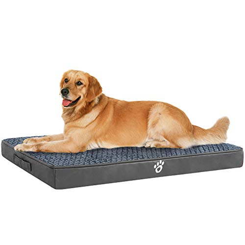 OQQ Memory Foam Dog Bed for Small, Medium, Large Dogs & Cats - Orthopedic Dog Crate Mats Suitable for 32 inches/35 inches/43 inches Crates - Nonskid Bottom Bed Mats