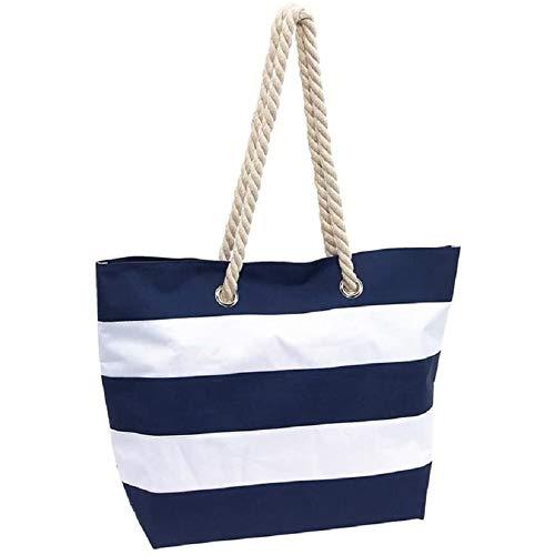 INSPI Strandtasche Sylt Badetasche Tragetasche Einkaufstasche Umhängetasche XL blau