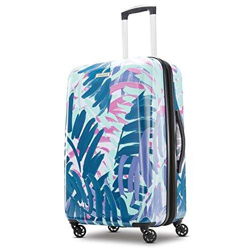 American Tourister Moonlight Hardside Expandable Luggage with Spinner Wheels, Palm Trees, Checked-Medium 24-Inch