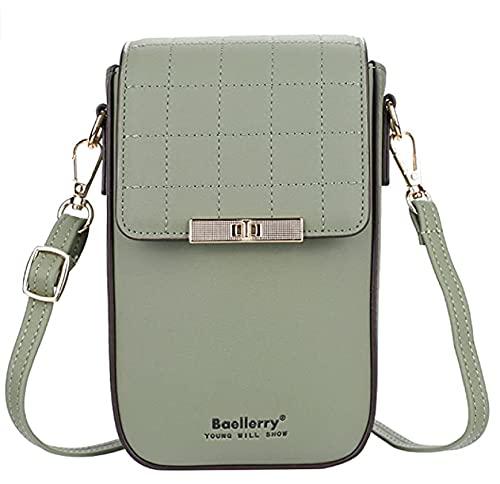 Bolso bandolera de piel para mujer, bolso de hombro, bolso para el móvil, monedero para mujer, monedero para pasaporte, para niñas, compras, escuela, viaje, color marrón y verde
