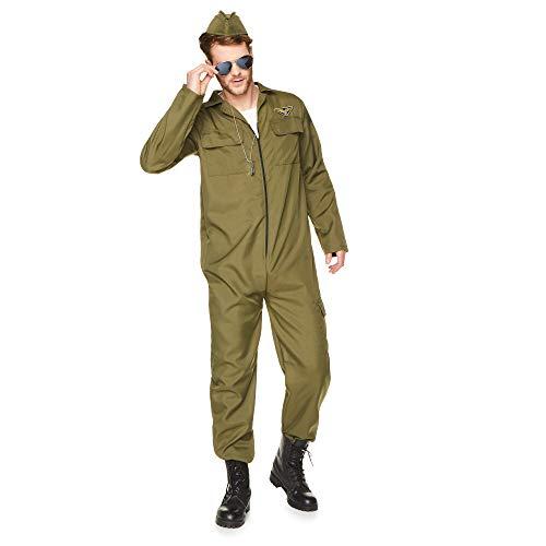 Karnival Costumes- Fighter Pilot Déguisement, Men, 82043, Vert, m