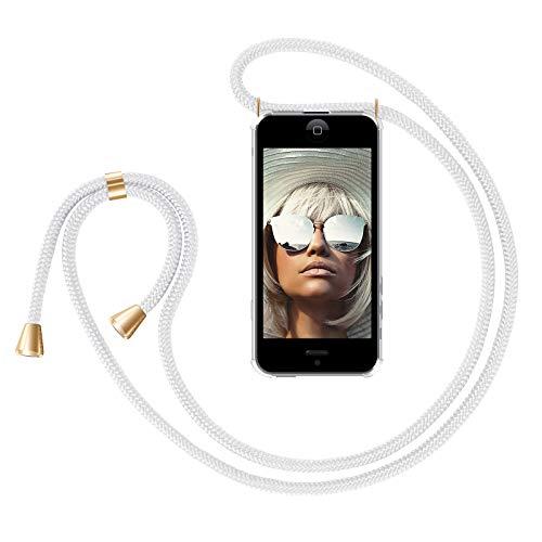 ZhinkArts Handykette kompatibel mit Apple iPhone 5 / 5S / SE (2016) - Smartphone Necklace Hülle mit Band - Handyhülle Case mit Kette zum umhängen in Weiß