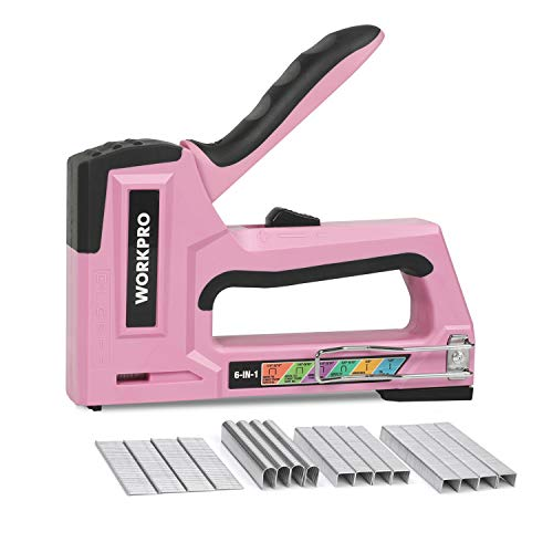 WORKPRO Pink Staple Gun, 6-in-1 Manual Brad Nailer with 4000-Pieces Staples for Fixing Material, Carpentry, Upholstery, Furniture and DIY - Pink Ribbon