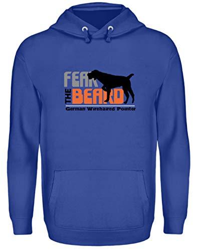 Générique Fear The Beard German Wirehaired Pointer - Chien, Portant pour chien, cultivateur, filament allemand - Sweat à capuche unisexe - Bleu - XL