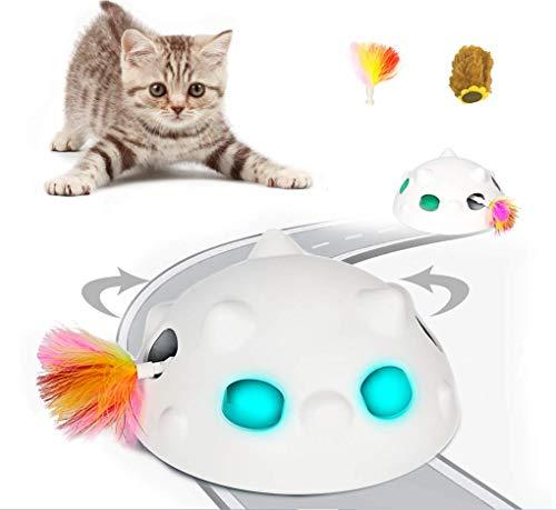 Juguete Interactivos para Gatos más nuevo de 2020, Juguete robótico para gatos con batería recargable de 900 mAh y apagado automático, juguetes electrónicos para gatos con plumas móviles al azar