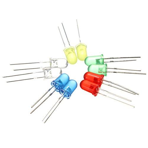 100x 5mm runden LED Leuchtdioden 5 Farben(20er Jede Farbe)