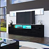 Senvoziii TV Lowboard Fernsehschrank in Hochglanz Schwarz TV Schrank mit LED-Beleuchtung Sideboard 2 Türen 4 Schubladen für Wohnzimmer 180 x 35 x 51 cm