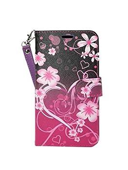ZTE Blade V8 Pro Case Customerfirst Flip Wallet Case Premium PU Leather Back Cover [Card Slots] [Stand] Folio Cover for ZTE Blade V8 Pro  Big Heart Pink