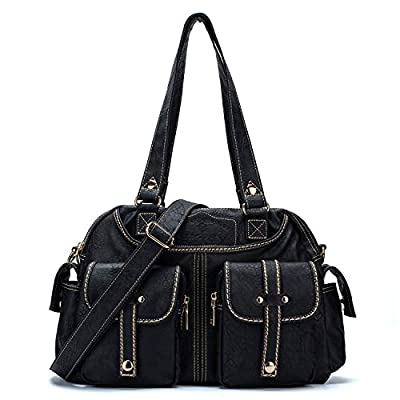 ETidy Ladies Tote Bag Retro Messenger Bag Gym Bag Travel Bag Women Leather Bag Purse And Handbag Shoulder Bag Multipocket With Zipper (Black)