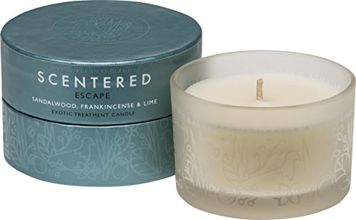 Scentered Escape Aromatherapy Scented Candle - Encourages Feelings of Peace & Tranquility - Frankincense, Sandalwood & Cedarwood Blend - Small Candle