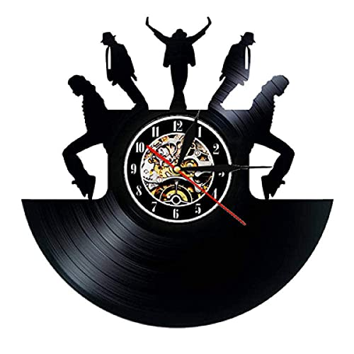 FANMUZIYU Reloj de Pared Diseño Moderno Tema Música Pegatinas 3D Pop Vinyl Record Reloj Reloj de Pared Decoración para el hogar Regalo para Hombre con LED (Color : with Led)