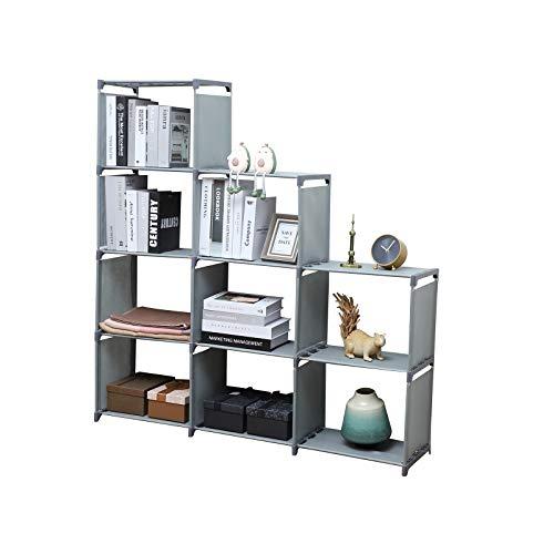 YCOCO 9 Cubes Bookshelf Office Storage Shelf Plastic Storage CabinetAdjustable Stackable DIY Bookshelf for KidHome Furniture Storage BookcaseGrey