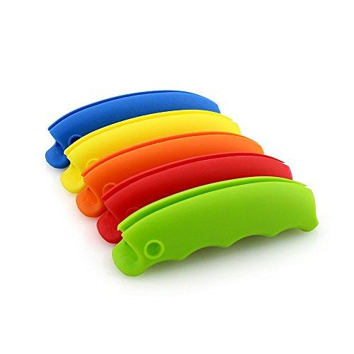 Große Silikon Einkaufstasche Griff Silikon Tragbare weiche Gummi Handschuhe Creative Waren klein labor-saving Griff 5-teilig, gelb, blau, rot, grün und orange