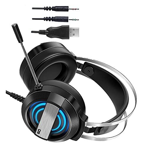 OSALADI Fones de ouvido para jogos com fio sobre a orelha com microfone para computador, laptop, tablet, computador com luz