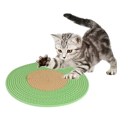 Yideng Alfombrilla para rascar gatos, 40 x 40 cm, redonda, alfombrilla para rascador de gato, alfombrilla horizontal para dormir, alfombrilla para gatos para interiores y gatos
