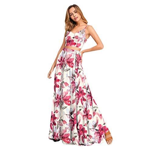 KUDICO Damen Zweiteiler Rock mit Crop Tops, Blumen V Ausschnitt Camisole Schnüren Ärmellos Bluse Petticoat Lang Röcke mit Schlitz(Weiß,EU 40/CN XL)