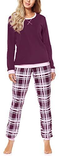 Merry Style Pijama Conjunto Camiseta y Pantalones Mujer MS10-168(Borgoña Cuadrados, XXL)
