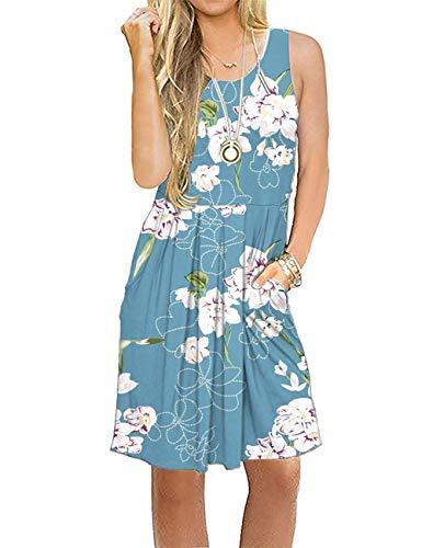 AUSELILY Vestido Informal sin Mangas con Pliegues Sueltos y Pliegues con Bolsillos hasta la Rodilla.(Flor Azul Claro,XL)