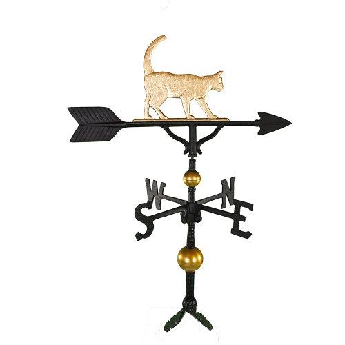 Montague Metal Products Wetterfahne mit goldfarbener Katze, 81 cm