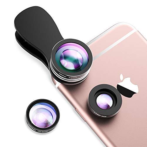 Mpow Handy Objektiv, Handy-Kameraobjektiv-Satz, 3 in 1 aufsteckbare Handylinsen, 180 ° Fishaugen-Objektiv, 0,65X Weitwinkelobjektiv und 10X Makroobjektiv, kompatibel mit iPhone 8/7/6; Galaxy S7 / S6.