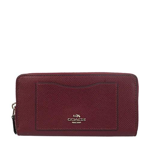 Coach Accordion Crossgrain Leather Zip Wallet in Burgundy, F54007 SV/BU