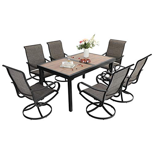Sophia & William Patio Dining Set 7 Pieces Outdoor Metal Furniture Set, 6 x Patio Dining Swivel Chairs Padded with 1 Expandable 6-8 Person Wood Like Table for Lawn Garden