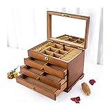 liushop Joyero Caja de joyería de Madera Caja de joyería de 4 Capas con Espejo, gabinete de joyería de Escritorio para...