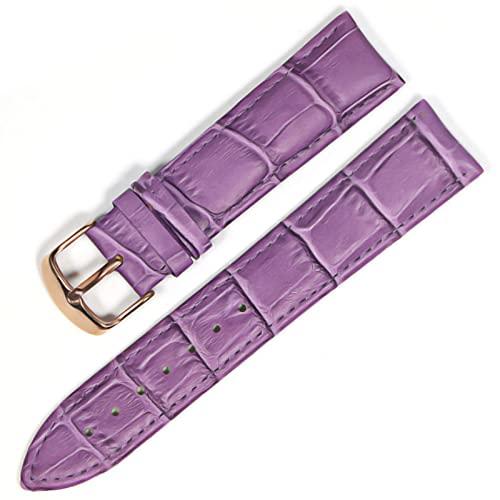 LIANYG Correa De Reloj Banda de Reloj Correas de Cuero Genuino Relojes 12 mm 18 mm 20 mm 22mm de Reloj Accesorios 493 (Band Color : Purple Rose Gold, Band Width : 14mm)