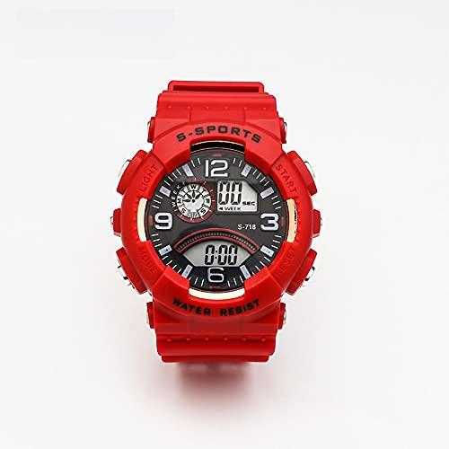 Reloj para Niño Youth Trend Unisex Sports Luminous Chronograph Reloj Electrónico Multifunción Rojo