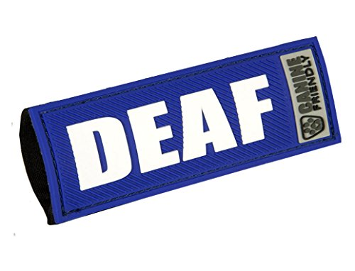 """Canine Friendly 1"""" Bark Notes 'Deaf' Patch for Collar or Leash"""