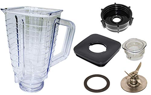 Blendin 5 Cup, Square Top Plastic Blender Jar, Complete, Compatible with Oster and Osterizer Blenders