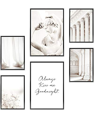 Heimlich Cuadros Decorativos - SIN Marcos -Decoración Colgante para Paredes de Sala, Dormitorios y Cocina - Arte Mural - 2 x A3 & 4 x A4-30x42 & 21x30 | » Elegant White Kiss «