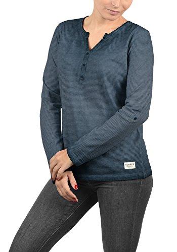 DESIRES Karina Damen Longsleeve Langarmshirt Shirt Mit Rundhalsausschnitt Und Knopfleiste Aus 100% Baumwolle, Größe:XL, Farbe:Insignia Blue (1991)