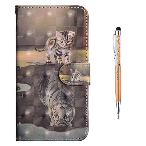 Grandoin Huawei Honor 8X Hülle, Handyhülle im Brieftasche-Stil für Huawei Honor 8X Handytasche PU Leder Flip Cover 3D Bunte Muster Book Hülle Schutzhülle Etui Hülle (Katze & Tiger)