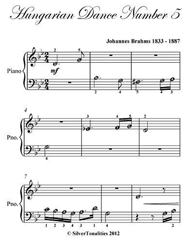 Hungarian Dance Number 5 Beginner Piano Sheet Music (English Edition)