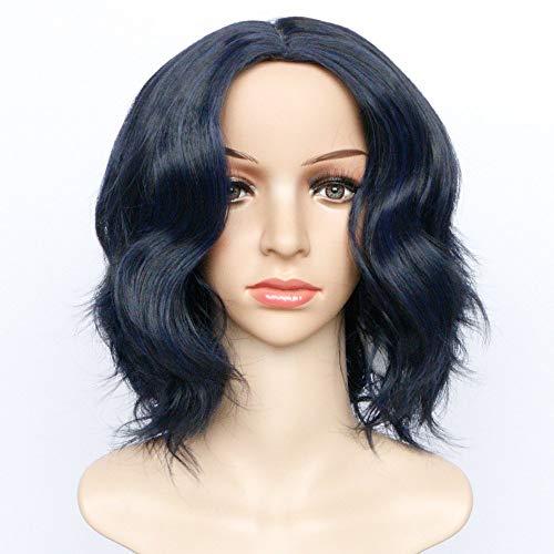 Ms Short Paragraph Curls Coiffure à mi-parcours Fil à haute température Fibre chimique Bleu Noir Perruques