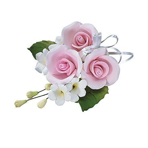 Luz rosa Trio de flor aniversario rosa tarta de bodas Spray decoración pasta de azúcar