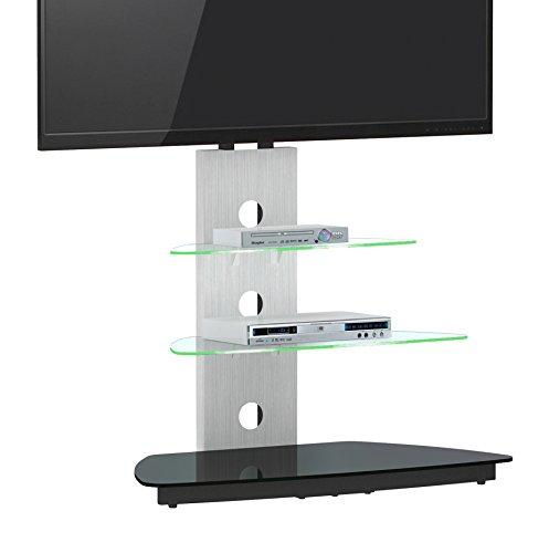 Jahnke CU-MR 50 LED KGL/AL GESCHL LCD-TV-Rack, ESG-Sicherheitsglas, Metall pulverbeschichtet, alu geschliffen / schwarzglas, 90 x 55 x 120 cm