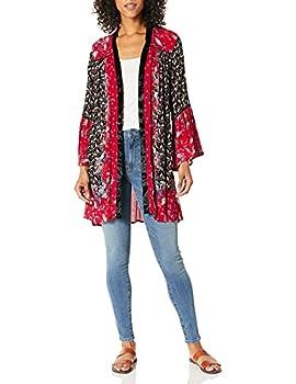 Angie Women s Velvet Trimmed Kimono with Bell Sleeves Redblack Large