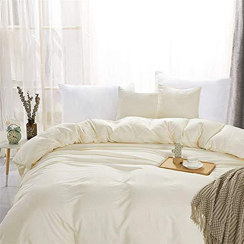 Aisbo - Funda nórdica de 240 x 260 cm, color beige, juego de cama de microfibra para 2 personas con cremallera, 2 fundas de almohada de 65 x 65 cm